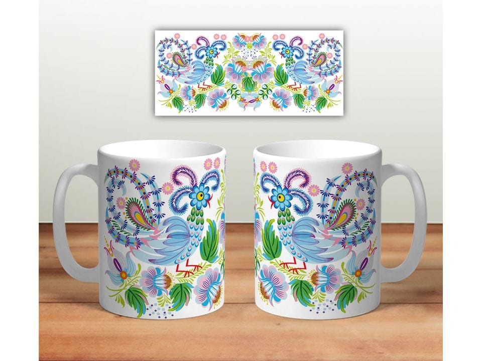 Керамическая кружка с принтом «Цветочная роспись mug114»
