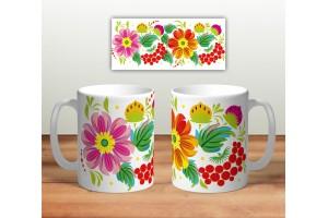 Кружка сувенирная «Цветочная роспись mug115»