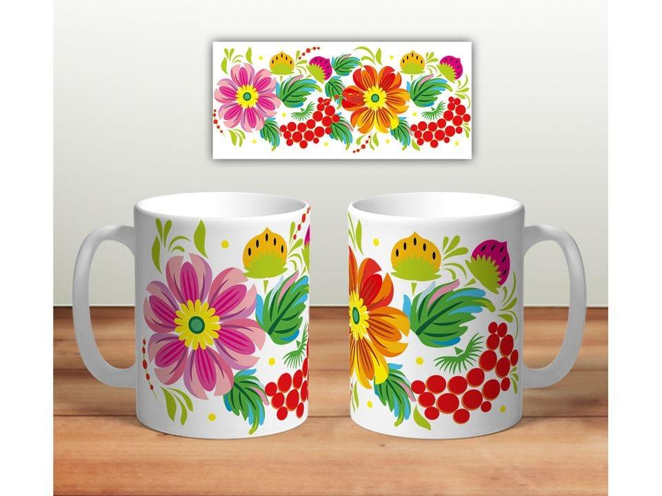 Керамическая кружка с принтом «Цветочная роспись mug115»