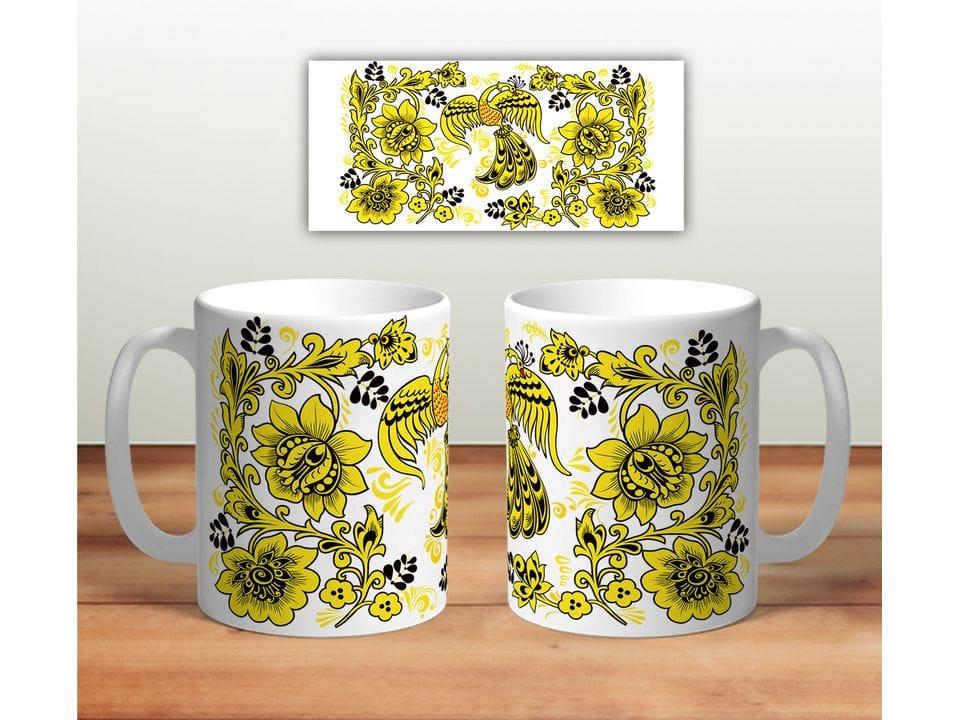 Керамическая кружка с принтом «Цветочная роспись mug116»
