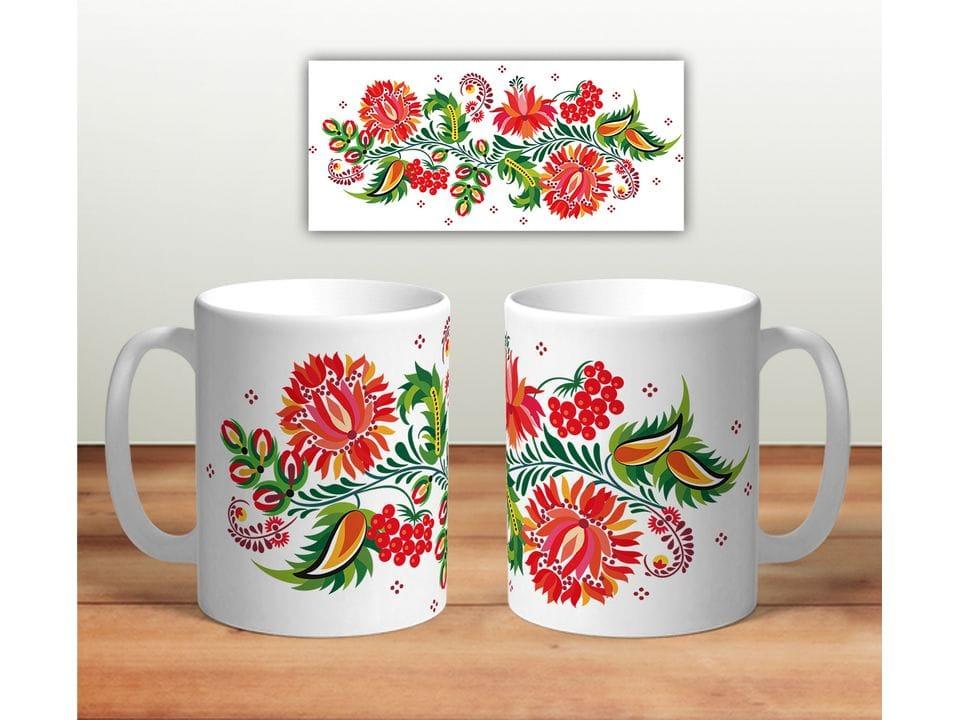 Керамическая кружка с принтом «Цветочная роспись mug117»