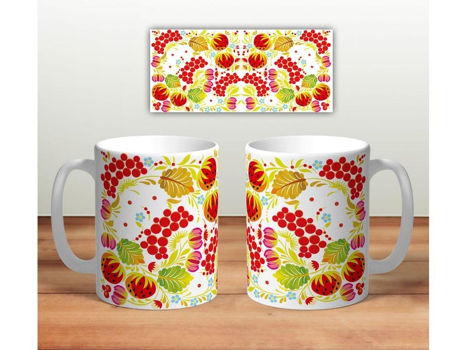 Керамическая кружка с принтом «Цветочная роспись mug119»