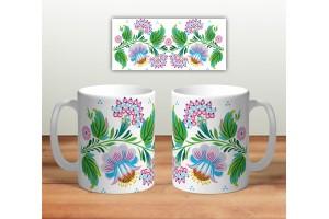 Кружка сувенирная «Цветочная роспись mug120»