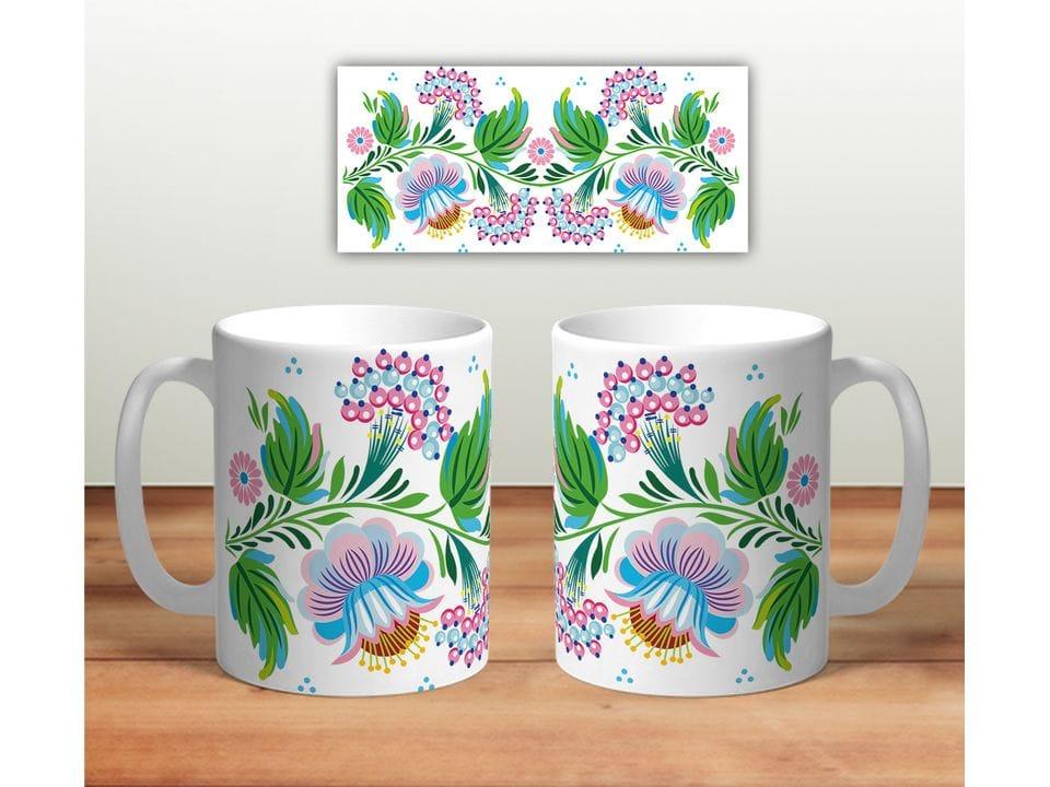 Керамическая кружка с принтом «Цветочная роспись mug120»