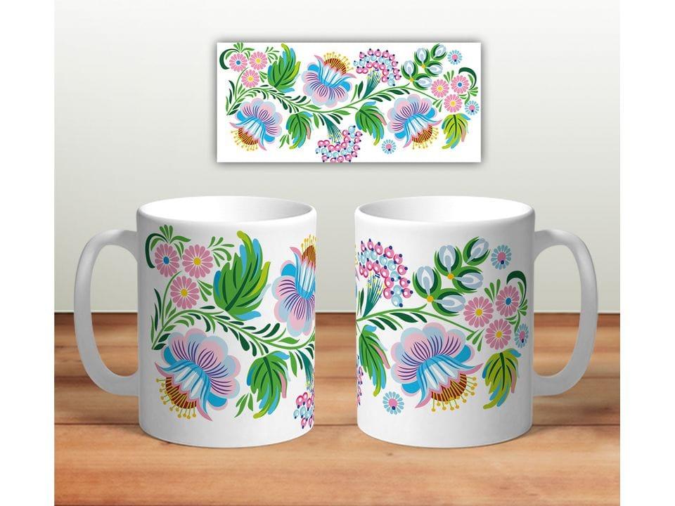 Керамическая кружка с принтом «Цветочная роспись mug121»