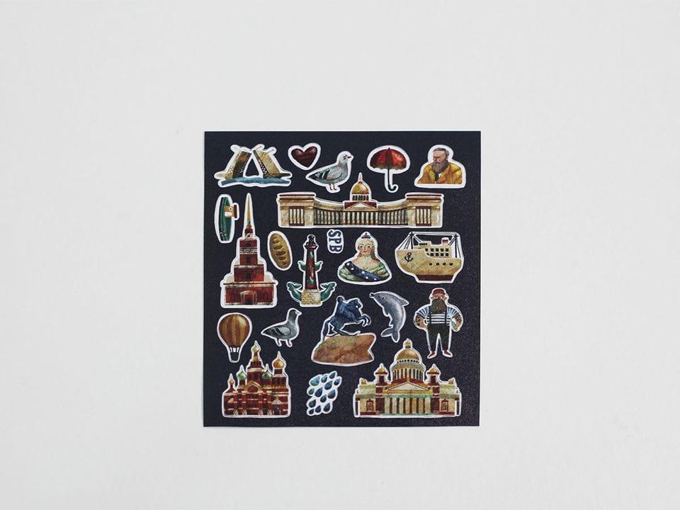 Стикеры «Наклейки о Петербурге», клеятся на любую поверхность
