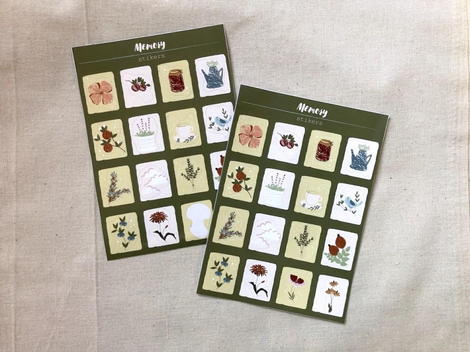 Набор стикеров «Memory» цветочки, птички, растения