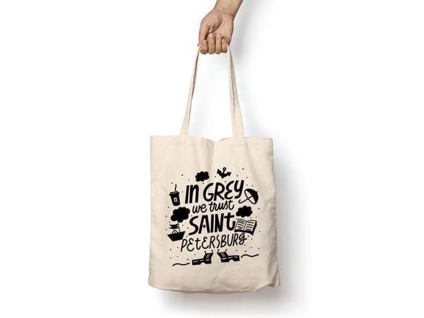 Сумка-шоппер с принтом «In grey we trust»