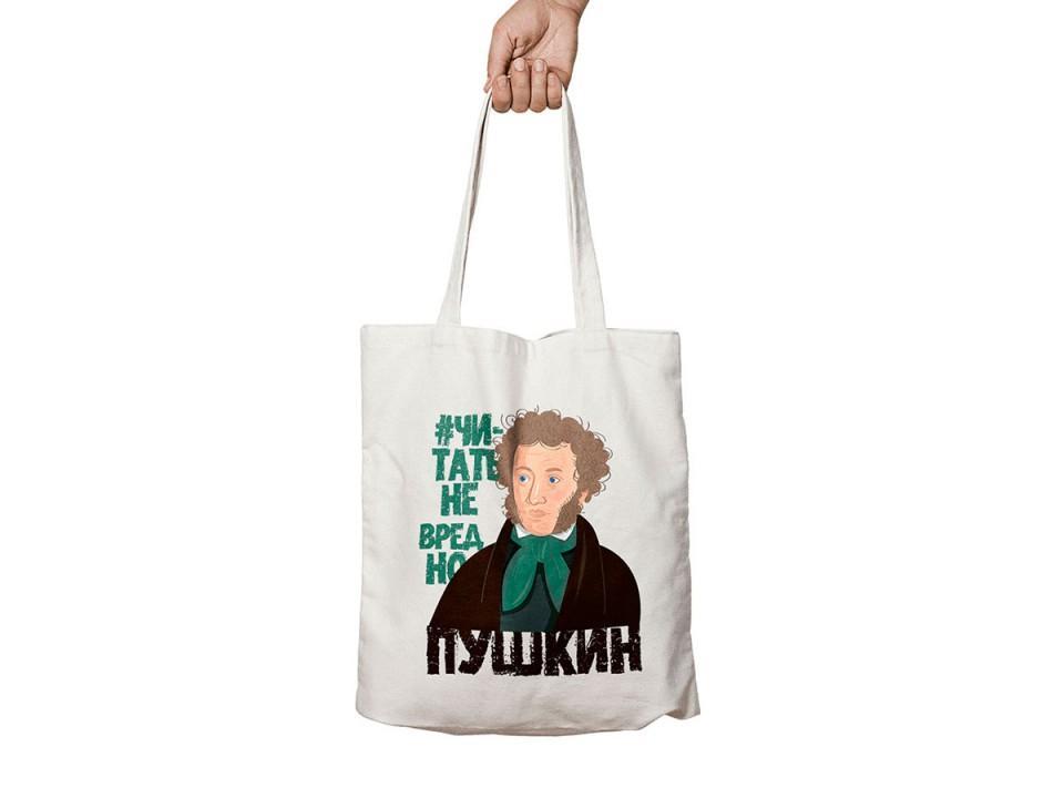 Сумка шоппер из бязи с иллюстрацией «Пушкин»